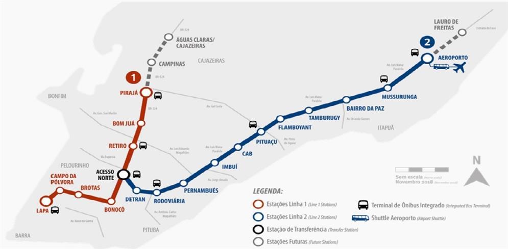 Sistema metroviário de Salvador e região (2018)