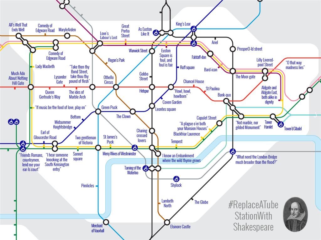 Estações De Metro Londres Mapa.Metro De Londres Homenageia Shakespeare Com Mapa Especial