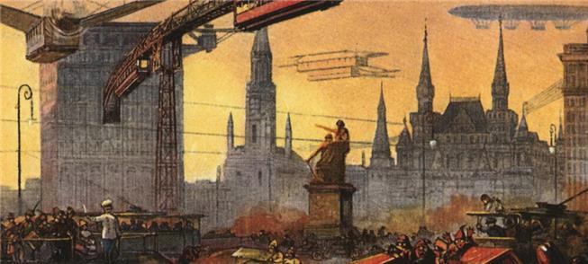 A Praça Vermelha do futuro: dirigíveis e carros ve
