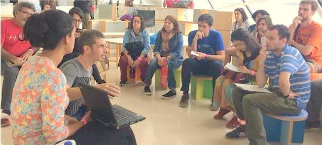 Ativistas do Ciclocidade (à esq.) falam no Bicicul