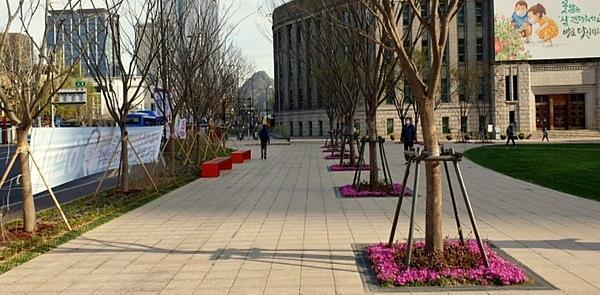 Avenida Sejong-daero: vegetação e mais espaço para