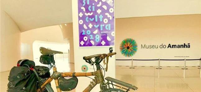 Bicicleta de bambu no Museu do Amanhã, sede do Bic