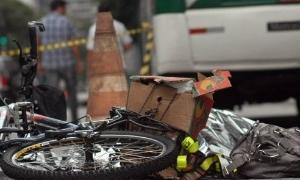 Bicicleta de Juliana Dias, atropelada na avenida P