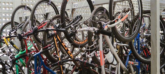 Bicicletário da estação Suzano, que oferece 576 va