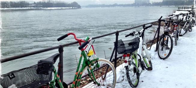 Bicicletas às margens do rio Reno