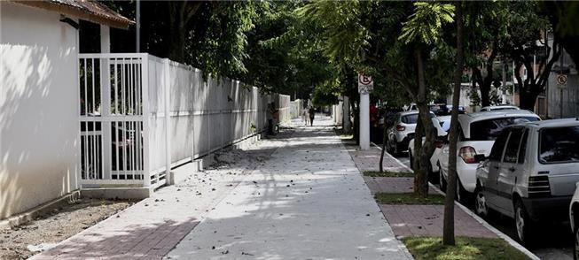 Calçada já recuperada na região da Vila Mariana, n