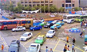 Centro congestionado em Chengdu, na China