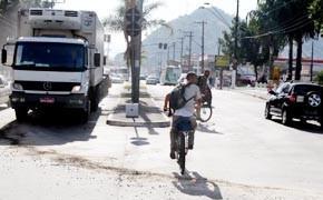 Ciclistas em Santos