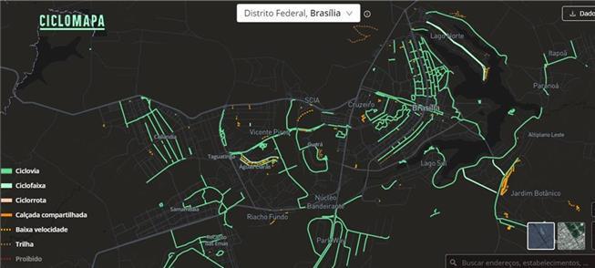 Ciclomapa: traçado cicloviário no Distrito Federal
