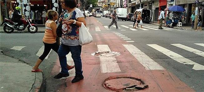 Ciclovia na rua Silva Pinto, Centro de São Paulo