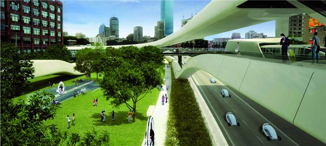 Cidade futurista, segundo a Audi: bicicletas de al