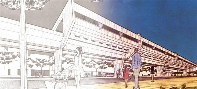 Desenho de estação elevada na linha Norte-Sul do M