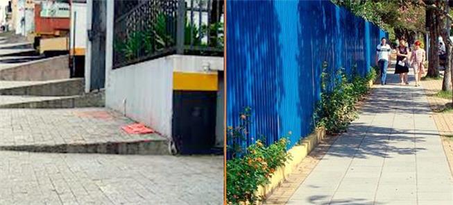 Dois exemplos de calçada: em rua íngreme e em rua