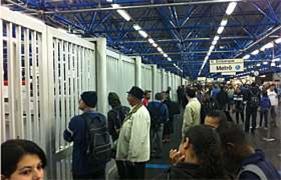 Estação Barra Funda com portões fechados