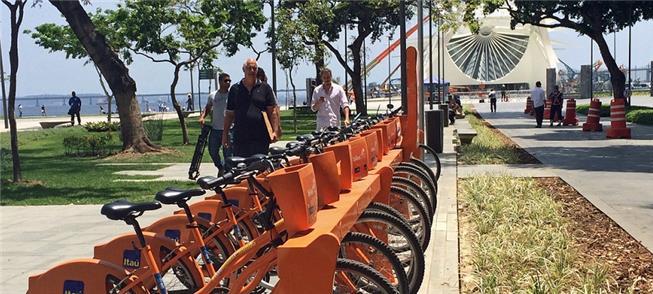 Estação da Bike Rio na Praça Mauá, no centro do Ri