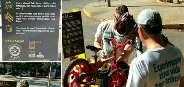 Estação de reparo de bikes: a primeira de dez em B