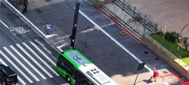 Hoje de manhã poucos ônibus circulavam na Av. Paul