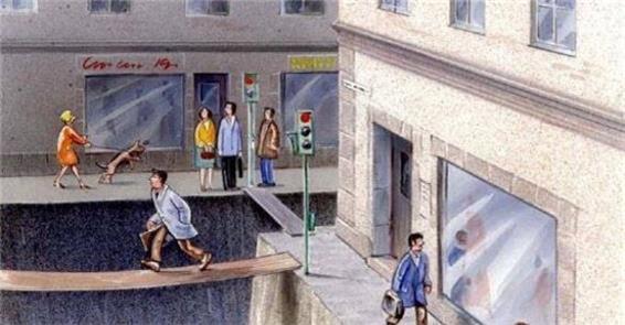 Ilustração de Karl Jilg: o espaço do pedestre na c