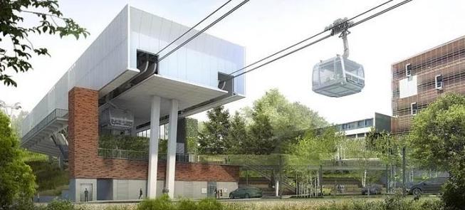 Imagem de projeto do teleférico em Toulouse, na Fr