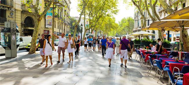 'Las Ramblas' de Barcelona: calçadas priorizam o p