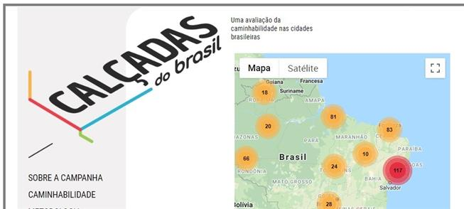 Mapa Calçadas do Brasil