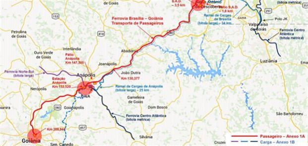 Mapa com o traçado do futuro trem Brasília-Goiânia