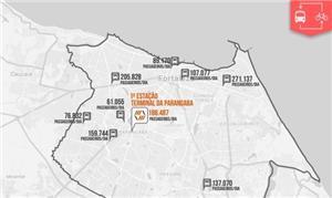 Mapa com pontos do sistema de bicicletas de Fortal