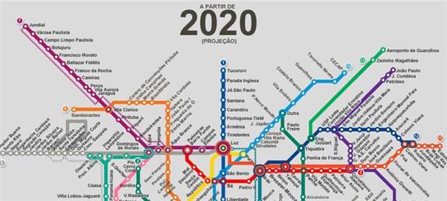Mapa da projeção da capital paulista em 2020