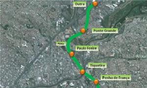 Mapa das futuras estações da Linha 2-Verde