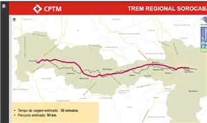 Mapa do trem regional de Sorocaba