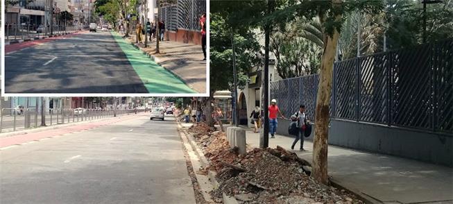 Obras na rua Vergueiro e detalhe da antiga faixa v
