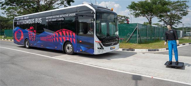 Ônibus autônomo em teste em Singapura