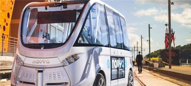 Ônibus autônomo Navya, em testes na Áustria