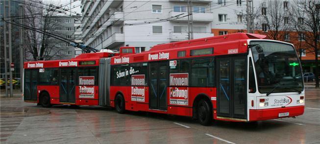 Ônibus elétrico articulado em Salzburgo, Àustria