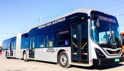 Ônibus elétrico testado entre Curitiba e Fazenda R