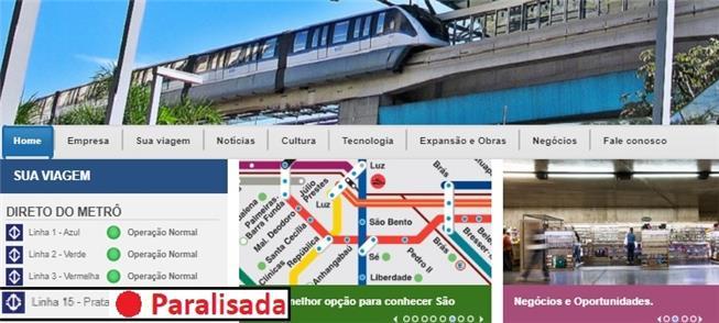 Página do Metrô hoje (16): Linha 15 segue parada