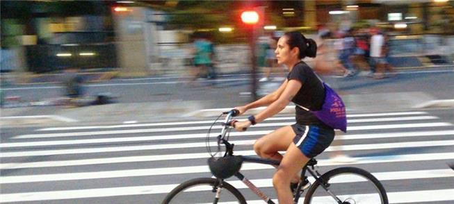 Pamela pedala 24 km. Parte do trajeto poderia ser