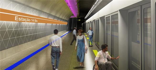 Perspectiva artística da futura Estação 14 Bis do