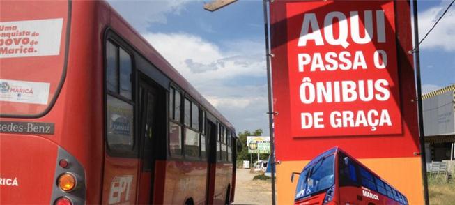 Placas avisam sobre gratuidade do transporte