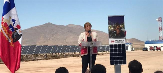 Presidente M. Bachelet inaugura usina El Pelicano,