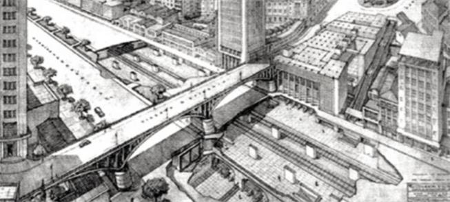 Proposta de 1956 para estação no Centro de São Pau