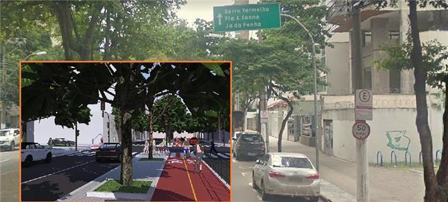 Proposta de ciclovia na av. Rio Branco, em Vitória