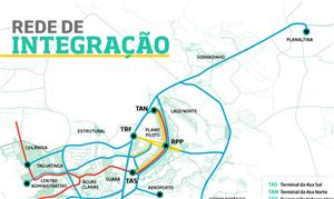 Rede de transporte público planejada pelo GDF