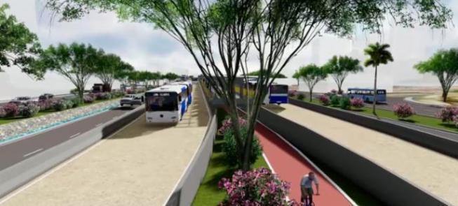 Simulação do futuro corredor BRT de Salvador