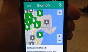 Tela de smartphone: ícones indicam pontos acessíve