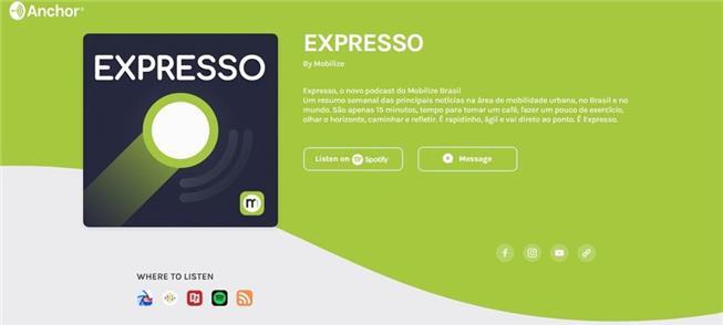 Tela do Expresso na plataforma Anchor
