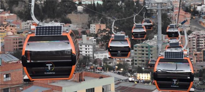 Teleféricos transportam pelo ar a população de La