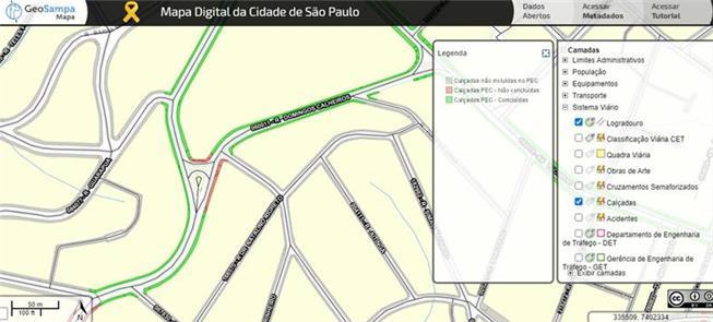 Trecho do mapa digital com destaque para as calçad