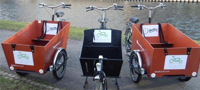 Três modelos de cargo-bike usadas no projeto Flott