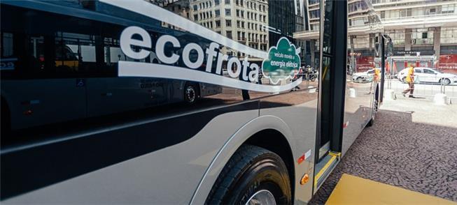 Um dos 15 ônibus elétricos incluídos na frota de S